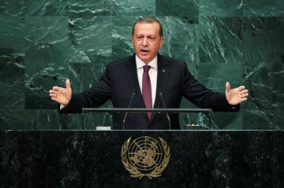 Turkish President Tayyip Erdogan addresses the United Nations General Assembly in the Manhattan borough of New York